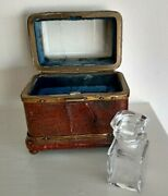 Antique Miniature Square Glass Perfume Bottle In Leather And Brass Box / Casket