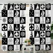 Black White Checked Boat Ocean Sea Window Living Room Bedroom Curtains Drapes