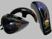 09-20 Harley Road King Steel Tank Front And Rear Fender Stretched Custom Tin Set