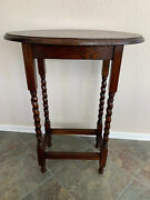 Antique English Oval Top Side Table With Barley Twist Legs