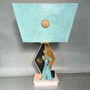 Vintage Moss Lamp With Repro Shade Mid Century Asian Dancer Figurine 1950s Retro
