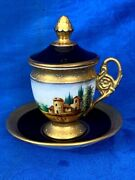 Antique Vienna Hand Painted Chocolate Tea Cup And Saucer With Lid