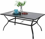 Outdoor Patio Dining Tables With Umbrella Hole Metal Rectangular 6 Person Table