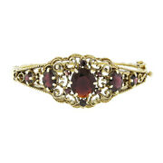 Vintage 14k Gold 10.50ctw Oval And Round Garnet Twisted Wire Open Bangle Bracelet