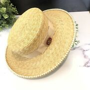 🌺authentic Ivory Pearl Embellished Wide Brim Straw Hat- New With Tag🥰