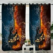 3d Bass Guitar Fire Music Water Flame Window Living Room Bedroom Curtains Drapes