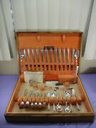 Vintage Serving For 12 Holmes And Edwards Silver-plated Flatware Set And Case 70 Pc