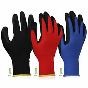 12 Pairs Hand Work Gloves Polyester Nylon Pu For Builders Garden Fishing Mittens