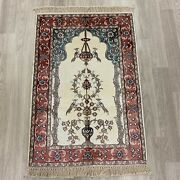 Yilong 2and039x3and039 Vase Flower Handknotted Traditional Silk Area Rug Tapestry 415m