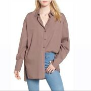 Free People Striped Oversized Button Down Shirt
