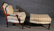 French Louis Xv Style Walnut Taylor King Bergere Chair And Ottoman Toile Gingham