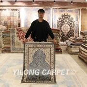 Yilong 2.7x4and039 Handmade Silk Carpet Kid Friendly Antistatic Area Rugs H014a