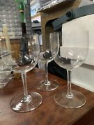 """3- Baccarat Crystal Wine Glass Goblet 7"""" Tall Etched Stems"""