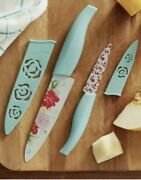 Pioneer Woman 4 Piece Knife Set Chef And Paring Knives🌹sweet Rose🌹