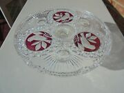 Hofbauer Byrdes Glass Ruby Red Flashed Cake Stand 12 Excellent