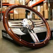Mahogany And Billet Double Barrel 14 Steering Wheel For 1995-02 Chevy Truck