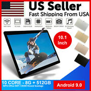 10.1 Wifi Tablet Android 9.0 Hd 8g+512g 10 Core Pc Google Gps+ Dual Camera 2020
