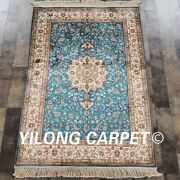 Yilong 2.7x4and039 Handwoven Silk Classic Blue Rug Oriental Home Carpet H017a