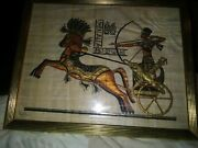 Vintage Egyptian Papyrus Signed Framed Art Horses Chariot Soldier Hieroglyphics