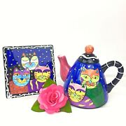 Milson And Louis Hand Painted Multicolor Cats Ceramic Teapot And Tile Retired