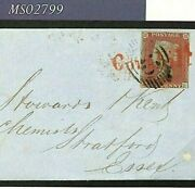 Gb Coloured Cancel Cornhill Red Receiver Cover 1851 1d Plate 102 London Ms2799