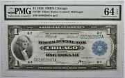 1918 1 Federal Reserve Bank Note Chicago Fr 729 Pmg 64 Choice Uncirculated Epq