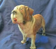Vintage 1970and039s Saint Bernard Cast Iron Doorstop By Breyer Light Brown And White