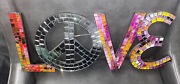 Love Mosaic Mirror Wall Art Hanging With Peace Sign Colorful And Beautiful 20x8x.5