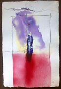 Art Drawing. Abstract. P. Paredes From Chile. Mixed Media On Paper. 22x15 Inch.