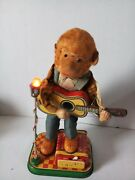 Vintage Antique Rare Old Collectible Japan Tin Toy Monkey With Guitar