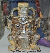 27china Hongshan Culture Old Jade Hand-carved Feng Shui Beast Face Mask Statue