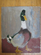 Vintage Romanian Modernist Impressionist Oil Painting Goose Duck Signed Mystery