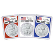 2021 1 American Silver Eagle 3pc. Set Pcgs Ms69 Fs Made In Usa Label Red White