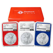 2021 1 American Silver Eagle 3pc. Set Ngc Ms70 Als Label Red White Blue