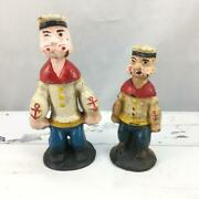 Vtg Antique Cast Iron Paperweight Coin Bank ,figurine Statue - Popeye, Set Of 2