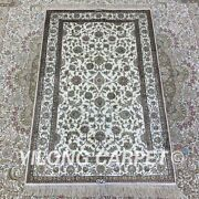 Yilong 2.5and039x4and039 All-over Floral Handmade Silk Carpet White Vintage Area Rug H165b
