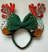 Minnie Mouse Ears Reindeer Bling Holiday Sustainable Handmade Headband Green/red