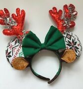 Minnie Mouse Ears Reindeer Solid Holiday Sustainable Handmade Headband Green/red