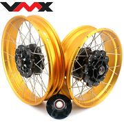 Vmx 19/17 Gold Tubeless Rims Fit For Honda Africa Twin Crf1000l 2016 Black Hubs