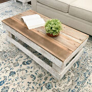 Rustic Farmhouse Tea Coffee Table Rectangular Solid Reclaimed Wood Natural/white