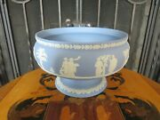 Wedgwood Blue Jasper Ware Imperial Footed Pedestal Bowl Neoclassical Figures