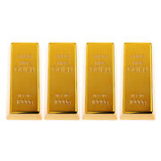 4x Solid Fake Gold Bar Paper Weight Prop Dress Table Decor Bullion Toys