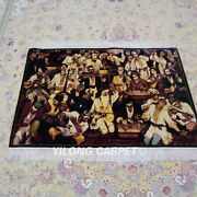 Yilong 2.7and039x4and039 Handknotted Silk Pictorial Tapestry Home Decor Carpet Rug Ywx106a