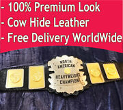 North American Heavyweight Championship Title Belt Dual Layer Cow Hide Leather
