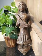 Antique Old Wooden Hand Carved Hindu Woman Playing Veena Statue Decorative Putli