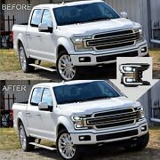 Vland Black Full Led Headlights W/ Sequential Turn Signal For 18-20 F-150