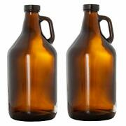 Glass Growlers For Beer 2 Pack - 64 Oz Growler With Lids Home Brewing Kombucha