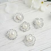 100 Silver Metal Assorted Brooches Pins Flowers Rhinestones Pearls Light Gray