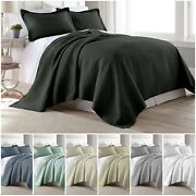 Chezmoi Collection 3pc Jigsaw Bedspread Coverlet Set Pre-washed Cotton Quilt Set
