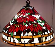 Style Stained Glass Hanging Lamp Poinsettia 20